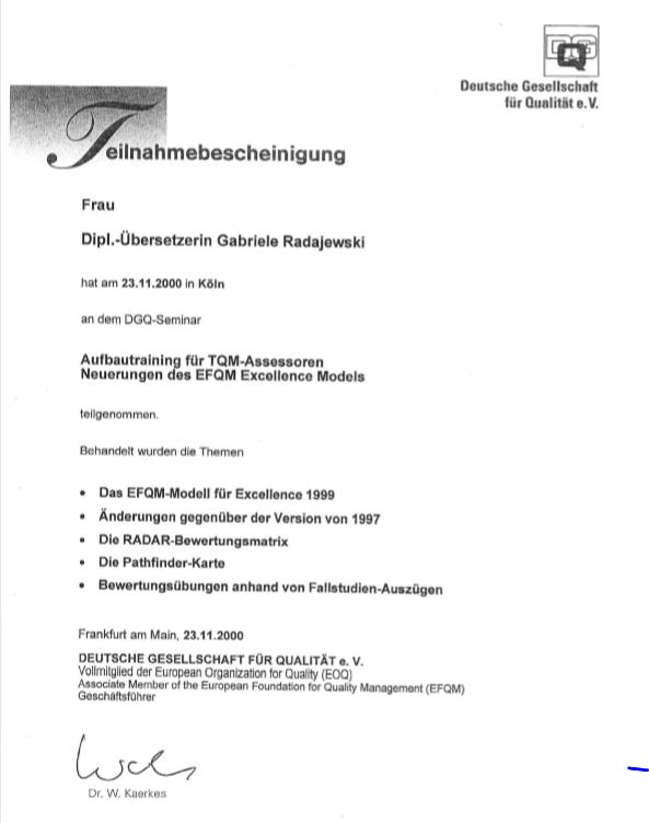 Aufbautraining EFQM Assessor